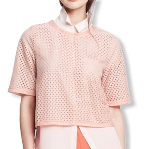 Banana Republic Pink Eyelet Cut Out Blouse Small
